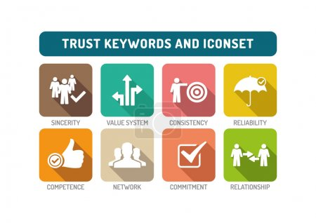 Illustration for Trust text Flat Keywords and Icons Set - Royalty Free Image