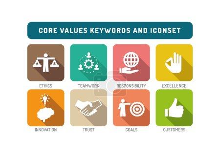 Illustration for Core Values Flat Icon Set - Royalty Free Image