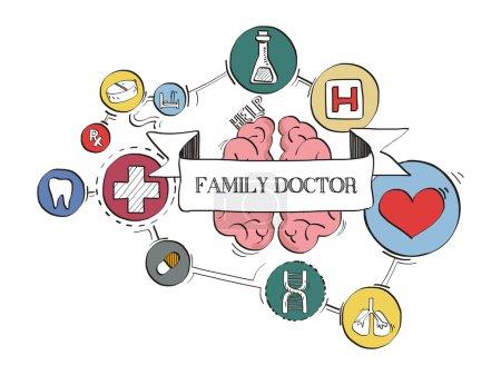 Illustration pour Icônes de santé graphique et croquis, FAMILY DOCTOR CONCEPT - image libre de droit