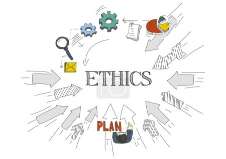 Illustration for Doddle arrows pointing to center with icons and text ethics - Royalty Free Image
