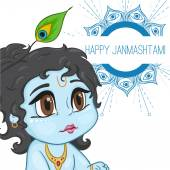 Hand drawn little baby god Krishna in anime style With a pot of porridge with mandala words happy janmashtami Cute baby blue with black hair and brown eyes from India