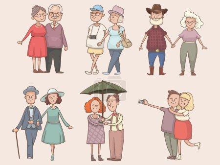 Set of older couples