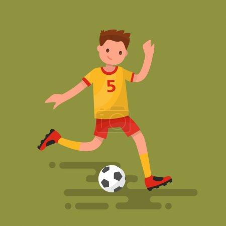 Soccer player kicks the ball. Vector illustration