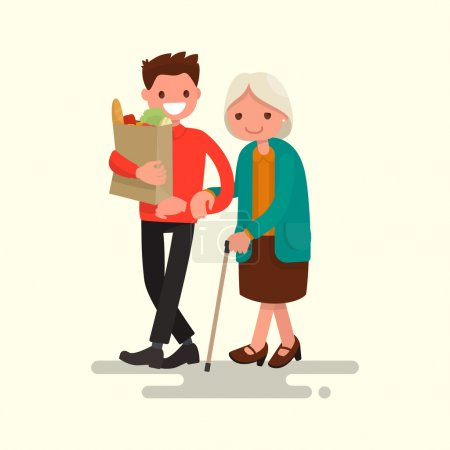 Volunteer helping grandmother carry products. Vector illustration