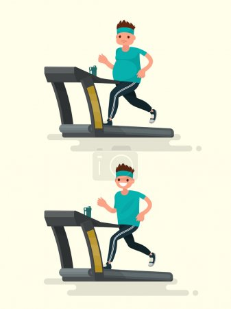 Before and after. Obese man running on a treadmill and he  after