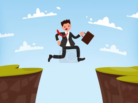 Illustration for Concept of overcoming obstacles to work. Businessman jumps open. Vector illustration of a flat design - Royalty Free Image
