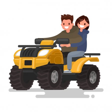 Active holidays. Quad biking. Man and woman are riding a ATV. Ve