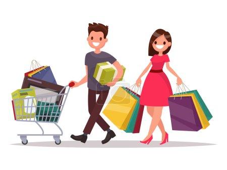Illustration pour Heureux couple famille et de ses boutiques. Homme avec un panier d'épicerie et d'une femme avec les forfaits. Illustration vectorielle d'un design plat - image libre de droit
