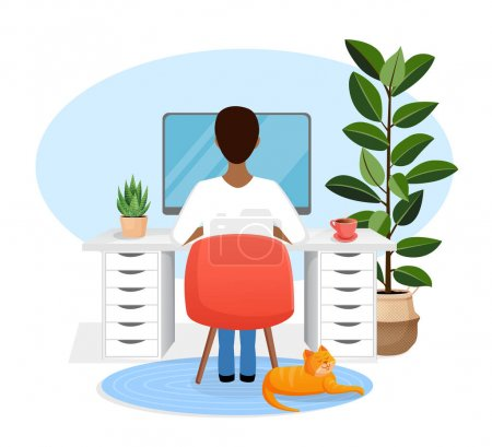 Illustration for Male freelancer sits at a desk working at home at a computer. Back view of the guy. Remote work, office at home, programming. Study at home in quarantine. Vector illustration. Cozy workspace - Royalty Free Image