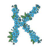 Forget me not vector alphabet Letter K