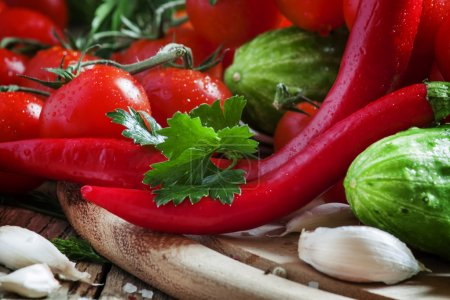 Red hot pepper with spring vegetables