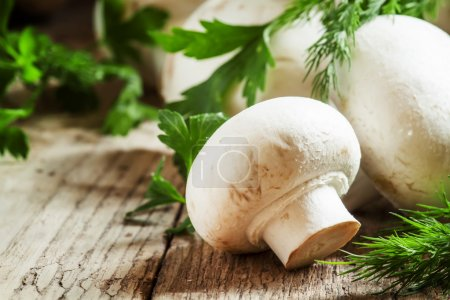 White mushrooms champignons, dill, parsley on old wooden table