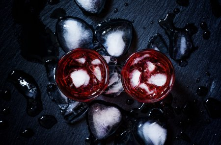 Red cocktail with crushed ice
