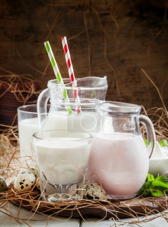 Dairy products: milk and yogurt in jars