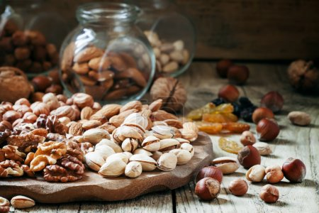 Nuts mix of pistachios, hazelnuts, walnuts and almonds
