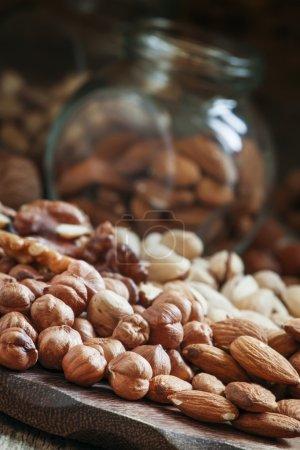 Nuts mix of pistachios, hazelnuts, walnuts and almonds