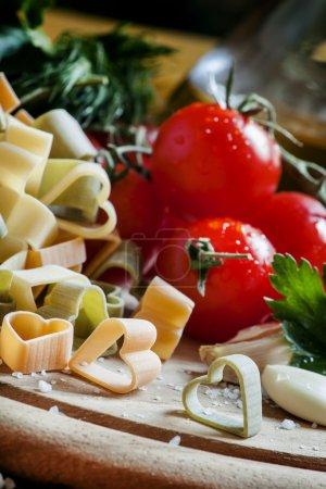 Spanish tricolor pasta corazones in the shape of hearts