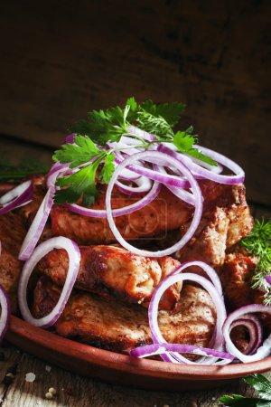 Traditional Caucasian pork shish kebab