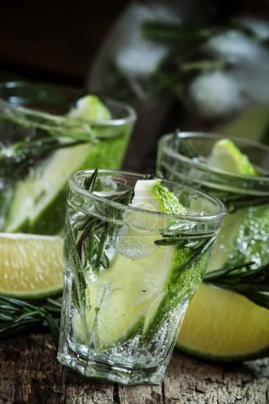 Refreshing drink with rosemary, lime and honey