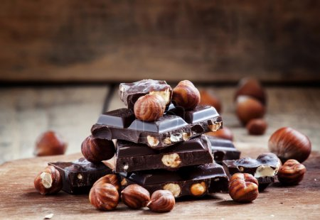 Dark chocolate with hazelnuts