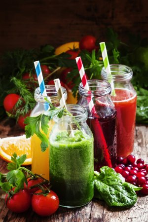 Set of fruit and vegetable juices