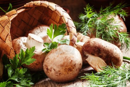 Brown mushrooms, parsley and dill, a wicker basket