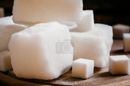Large pieces of white refined sugar