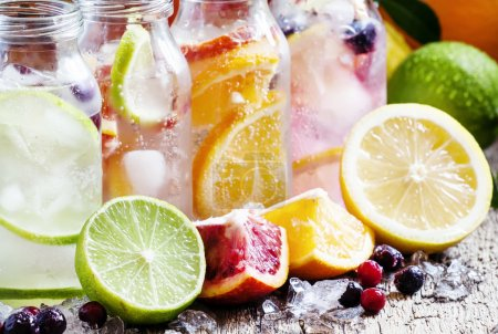 Fizzy water with citrus fruit, fresh berries and crushed ice