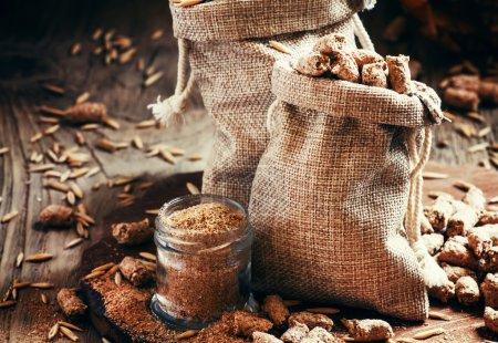 Healthy oat bran in canvas bags