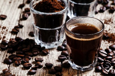 Black espresso coffee and ingredients for cooking