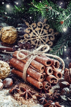 Bunch of cinnamon sticks in a Christmas composition