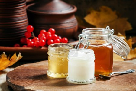 Honey assortment in small jars