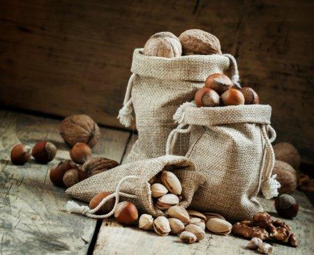 Walnuts, hazelnuts, pistachios in bags