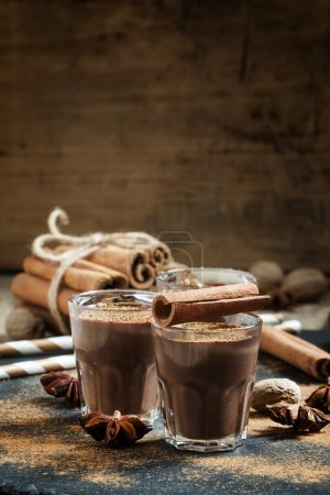 Hot liquid chocolate with warming winter spices