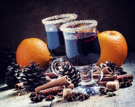 Mulled wine in large glasses