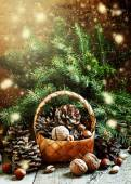 Christmas or New Year wicker basket