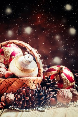 Christmas New Year composition with wicker basket