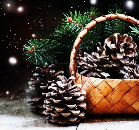 Christmas or New Year composition with wicker basket