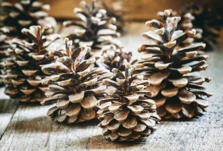 Christmas or New Year decoration with fir cones on old wooden background