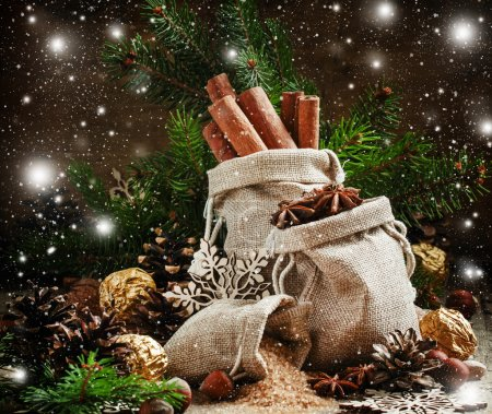 Photo pour Epices de Noël en sacs, bonbons et noix, branches de sapin décorées, cônes de pin et flocons de neige, image tonique, mise au point sélective - image libre de droit