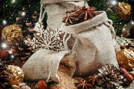 Christmas spices in bags