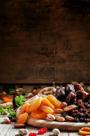 Dried apricots, dates, raisins and various nuts