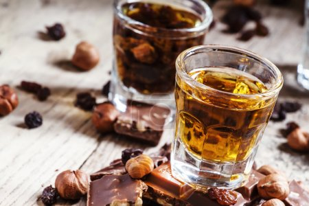 Brandy, chocolate with nuts and raisins