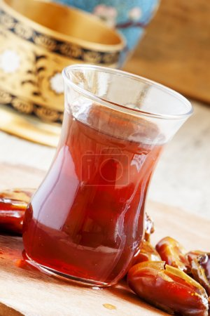 Black tea in traditional Islamic cup