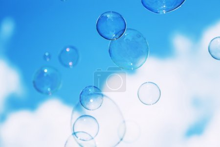 Natural heaven background, soap bubbles on background of sky
