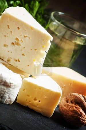 Assorted different kinds of cheese