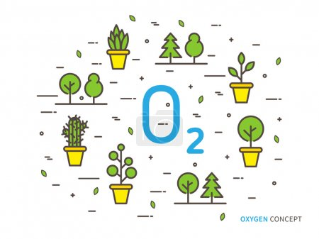Illustration for O2 (oxygen) linear vector illustration with house plants. Natural (ecology, ecological) oxygen creative graphic concept. Natural eco oxygen process for science, chemistry, biology - Royalty Free Image