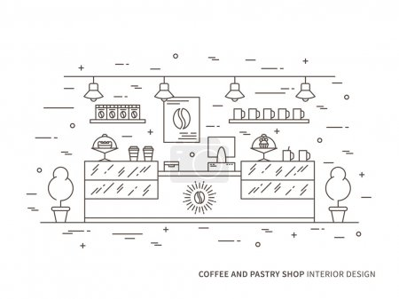 Illustration for Linear flat interior design illustration of modern coffee and pastry shop (store, cafe) interior space with dessert, shelves, counter, showcase. Outline vector graphic concept of coffee shop. - Royalty Free Image