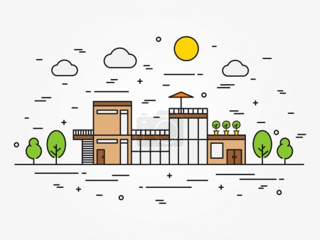 Illustration for House architecture outline vector illustration. Exterior house (home) architecture line art concept. Cottage (mansion) landscape linear graphic design. Colorful house building. - Royalty Free Image
