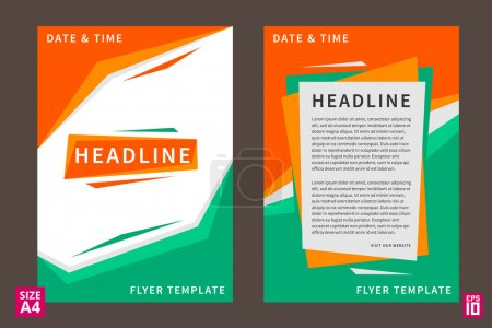 Illustration for Vector flyer, poster, leaflet, annual report design template with sample text. Layout design, A4 paper design template, fully layered design, business vector illustration, presentation. - Royalty Free Image
